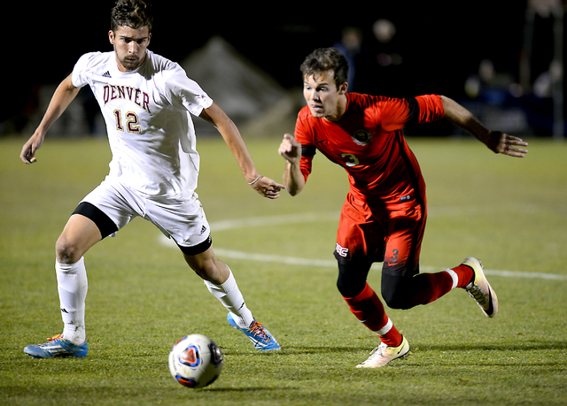Danny Musovski, right, shown last season, scored one of UNLV's two shootout goals Friday in the Rebels' 1-0 loss to Seattle in a Western Athletic Conference tournament semifinal. (Abraham Gebreegz ...