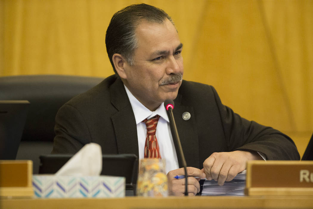Nevada Department of Transportation Director Rudy Malfabon during a Regional Transportation Commission board meeting at the Clark County Commission Chambers on Thursday, April 13, 2017, in Las Veg ...
