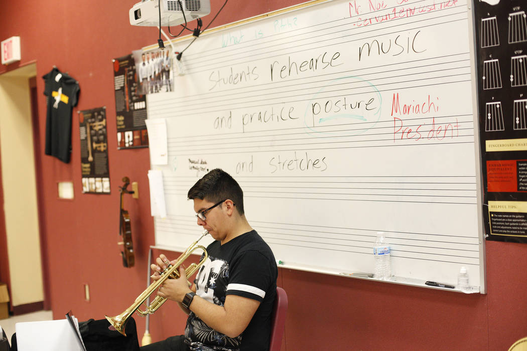 Manuel Senda, 17, plays trumpet during mariachi class at El Dorado High School in Las Vegas, Wednesday, Oct. 18, 2017. Rachel Aston Las Vegas Review-Journal @rookie__rae