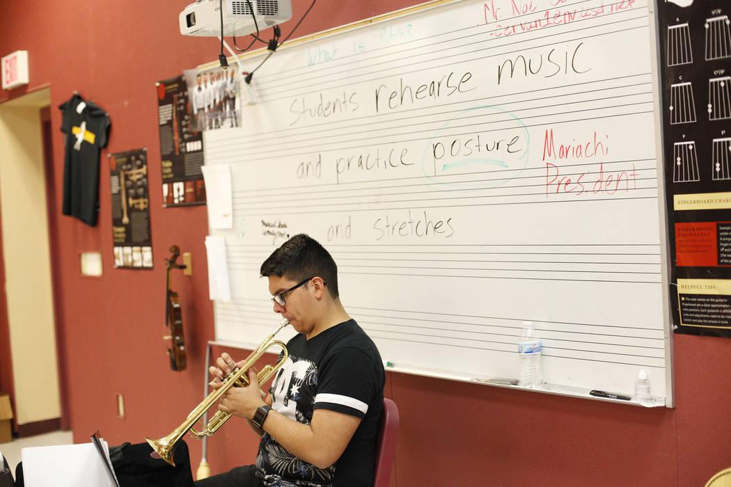 Manuel Senda, 17, plays trumpet during mariachi class at El Dorado High School in Las Vegas, Wednesday, Oct. 18, 2017. Rachel Aston Las Vegas Review-Journal @rookie__rae