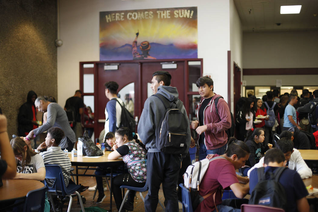 Students eat lunch in the cafeteria at El Dorado High School in Las Vegas, Wednesday, Oct. 18, 2017. The school has had issues with violence. Rachel Aston Las Vegas Review-Journal @rookie__rae