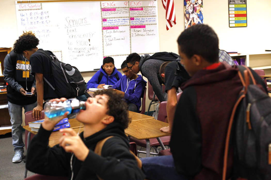 Students eat lunch in English class at El Dorado High School in Las Vegas, Wednesday, Oct. 18, 2017. The school has had issues with violence. Rachel Aston Las Vegas Review-Journal @rookie__rae
