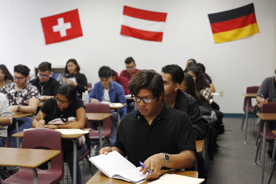 Edwin Guzman, 15, takes notes during a German class at El Dorado High School in Las Vegas, Wednesday, Oct. 18, 2017. The school has had issues with violence. Rachel Aston Las Vegas Review-Journal  ...