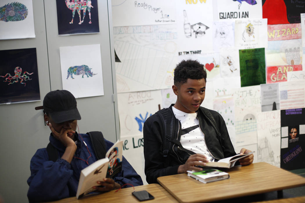 D'Andre Burnett, 17, in English class at Shadow Ridge High School in Las Vegas, Thursday, Oct. 19, 2017. Burnett has a 50-50 chance of graduating, and faces the same obstacles thousands of other C ...