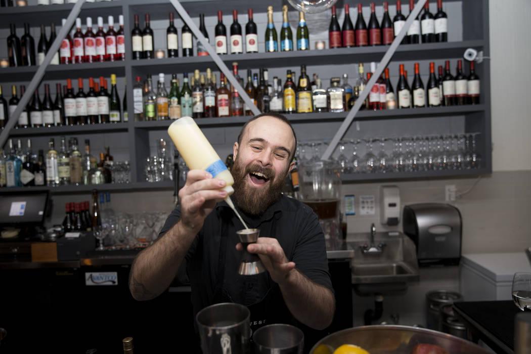 Bartender Max Coletta mixes a drink at The Black Sheep restaurant in Las Vegas, Friday, Oct. 27, 2017. Erik Verduzco Las Vegas Review-Journal @Erik_Verduzco