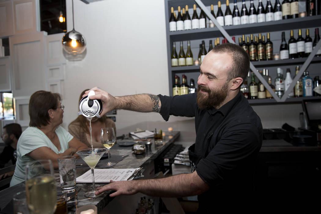 Bartender Max Coletta pours a drink at The Black Sheep restaurant in Las Vegas, Friday, Oct. 27, 2017. Erik Verduzco Las Vegas Review-Journal @Erik_Verduzco