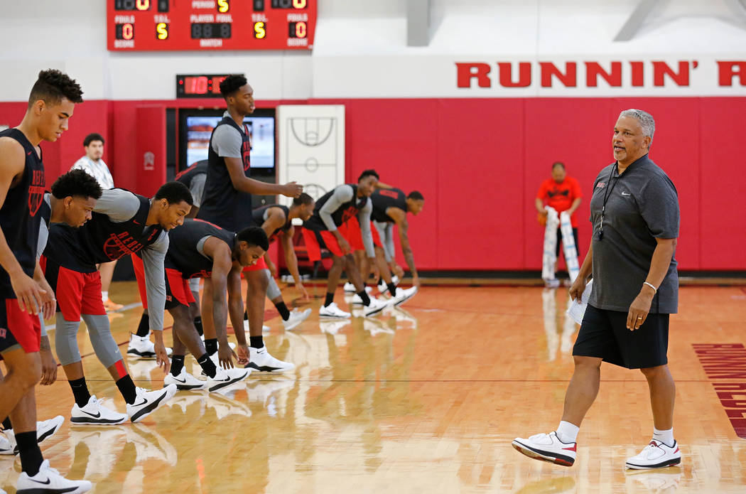 UNLV men's basketball head coach Marvin Menzies with his players during their practice at the Mendenhall Center in Las Vegas, Saturday, Sept. 30, 2017. Chitose Suzuki Las Vegas Review-Journal @chi ...