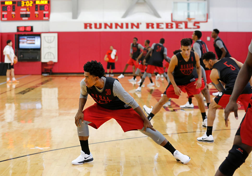 UNLV basketball player Jovan Mooring (30) during their practice at the Mendenhall Center in Las Vegas, Saturday, Sept. 30, 2017. Chitose Suzuki Las Vegas Review-Journal @chitosephoto