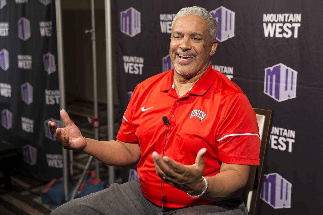 UNLV men's basketball head coach Marvin Menzies during the Mountain West Men's Basketball Media Summit at the Hard Rock hotel-casino in Las Vegas, Wednesday, Oct. 18, 2017. Erik Verduzco Las Vegas ...