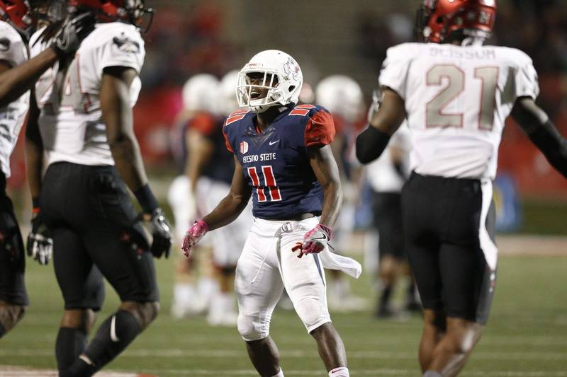 Oct 28, 2017; Fresno, CA, USA; Fresno State Bulldogs running back Dejonte O'Neal (11) reacts after failing to make a catch against the UNLV Rebels in the fourth quarter at Bulldog Stadium. The Reb ...
