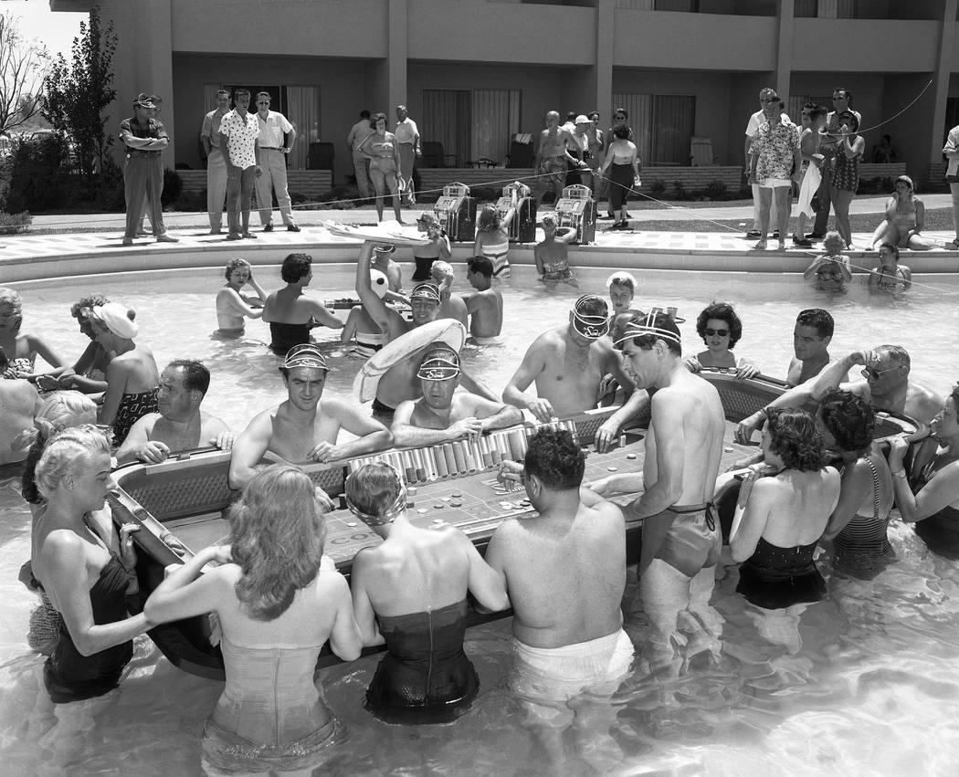 Sands Pool Casino, floating craps game. June 30, 1953. Las Vegas News Bureau
