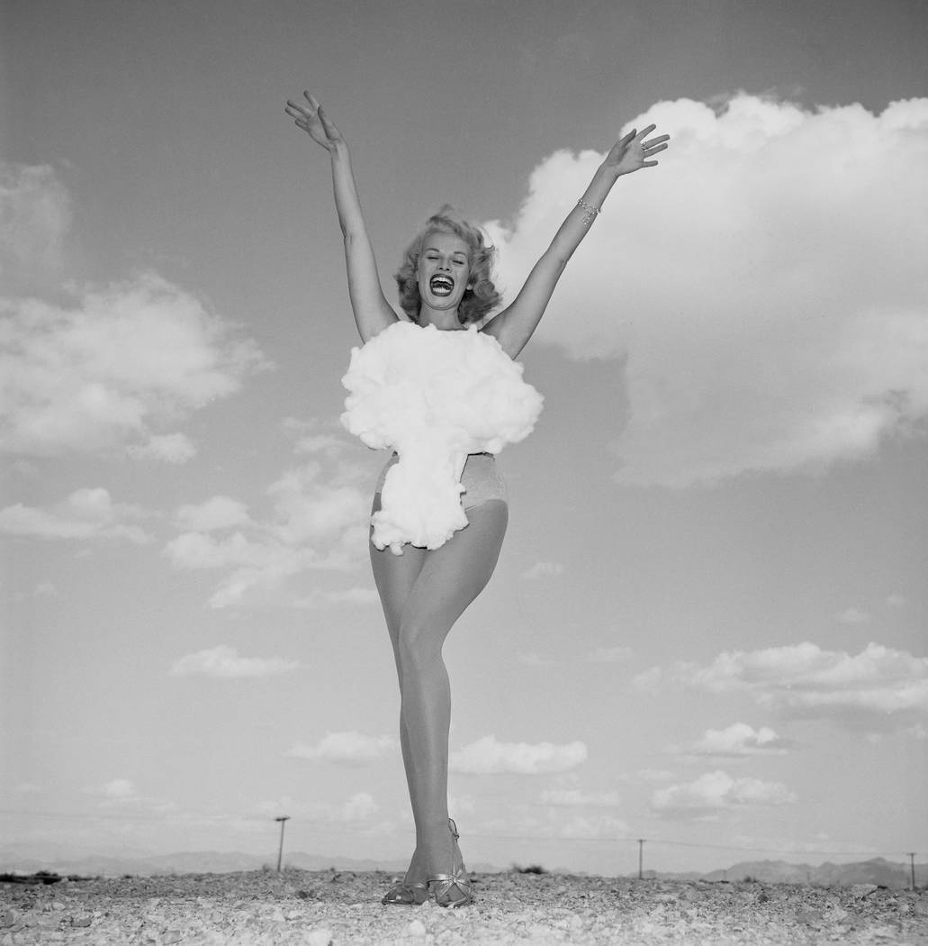 5/24/1957  Miss Atomic Bomb, Sands Copa Girl, Lee Merlin   Don English/Las Vegas News Bureau