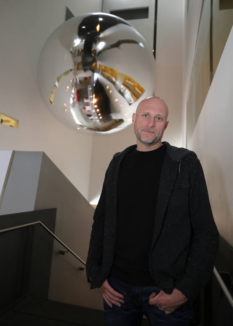 Artist Trevor Paglen gives a presentation about his Orbital Reflector art piece at the Nevada Museum of Art in Reno on Friday, Oct. 20, 2017. The 14-foot model at the museum is an early version of ...