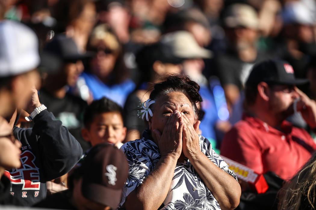A Hawaii Warriors fan reacts during the second quarter of a football game against the UNLV Rebels at Sam Boyd Stadium in Las Vegas, Saturday, Nov. 4, 2017. UNLV won 31-23. Joel Angel Juarez Las Ve ...
