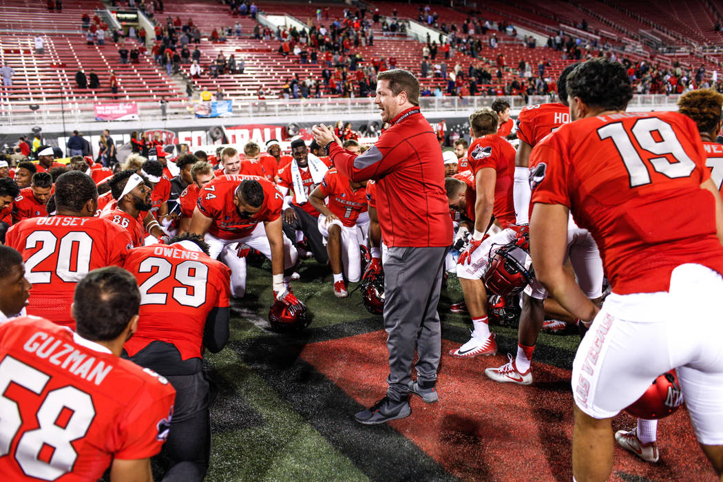 UNLV Rebels pray after defeating the Hawaii Warriors 31-23 in a football game at Sam Boyd Stadium in Las Vegas, Saturday, Nov. 4, 2017. Joel Angel Juarez Las Vegas Review-Journal @jajuarezphoto