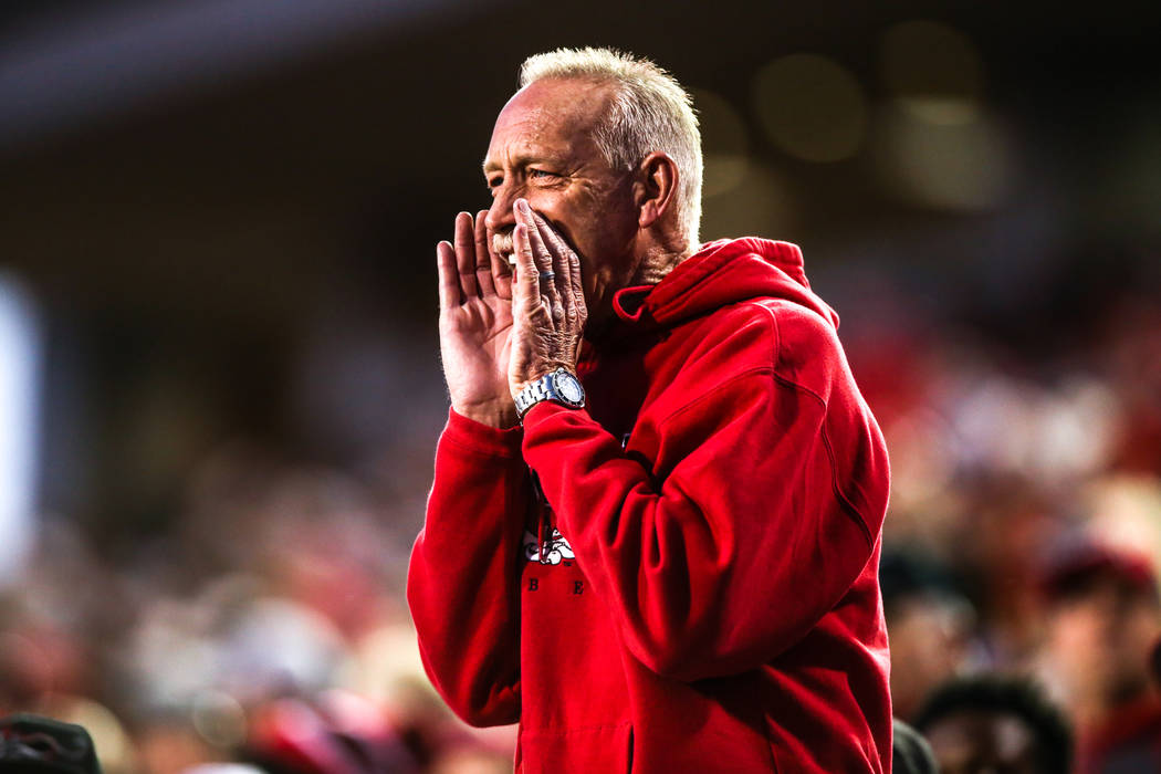 A UNLV Rebels fan reacts during the fourth quarter of a football game against the Hawaii Warriors at Sam Boyd Stadium in Las Vegas, Saturday, Nov. 4, 2017. UNLV won 31-23. Joel Angel Juarez Las Ve ...