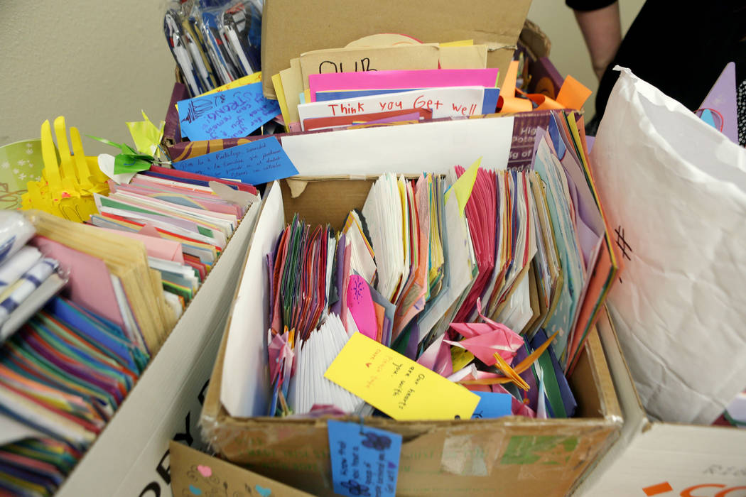 Countless cards given are piled and ready to be disturbed to more patients and staff at the University Medical Center after the  Oct. 1, tragedy, Thursday, Oct 26, 2017 at UMC in Las Vegas. Elizab ...