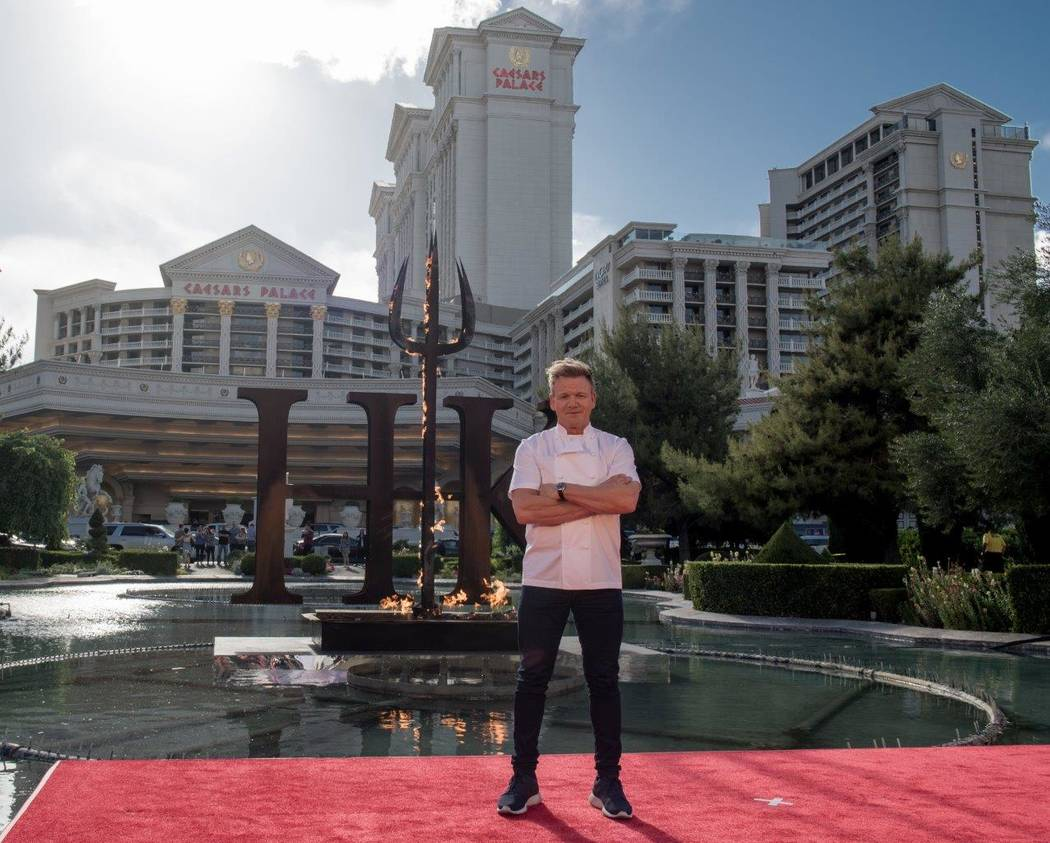 Gordon Ramsay announces his new theatrical dining restaurant Hell's Kitchen at Caesars Palace on Friday, April 28, 2017, in Las Vegas. (Tom Donoghue)