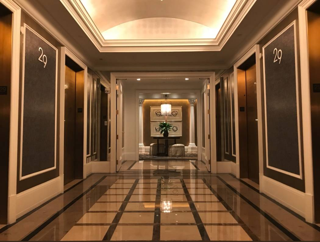 The entryway  of a villa inside the Palace Tower at Caesars Palace. (Todd Prince/Las Vegas Review-Journal)