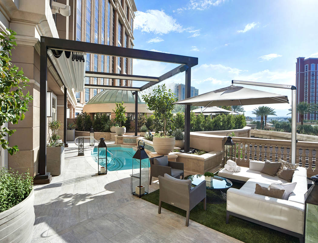 Photo of the Chairman Suite Terrace provided by the Palazzo hotel-casino.
