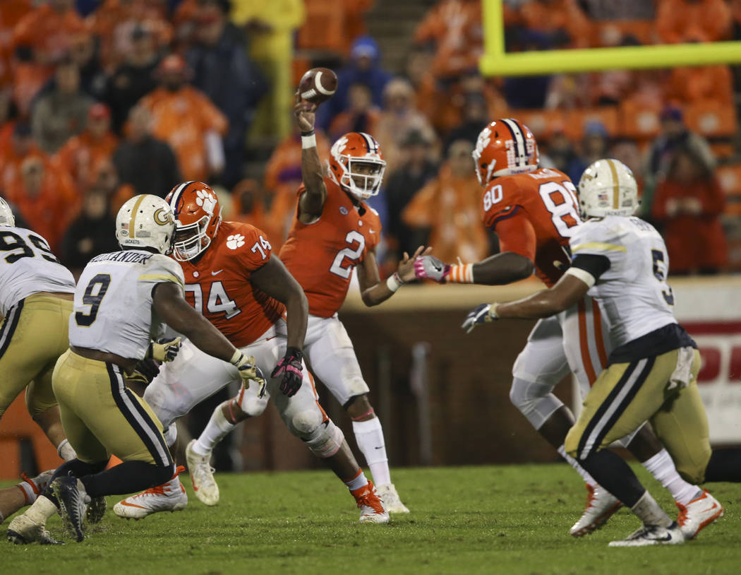 Clemson quarterback Kelly Bryant (2) throws in the second half of an NCAA college football game against Georgia Tech Saturday, Oct. 28, 2017, in Clemson, S.C. (AP Photo/John Bazemore)