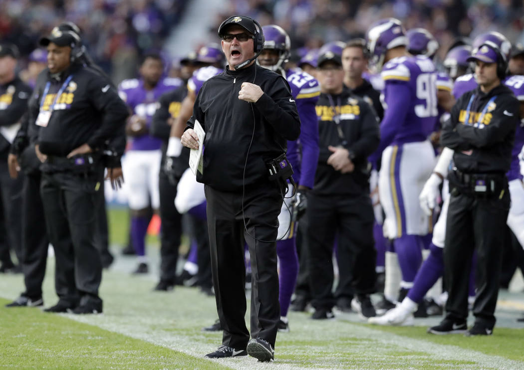 Minnesota Vikings head coach Mike Zimmer shouts out during the first half of an NFL football game against the Cleveland Browns at Twickenham Stadium in London, Sunday Oct. 29, 2017. (AP Photo/Matt ...