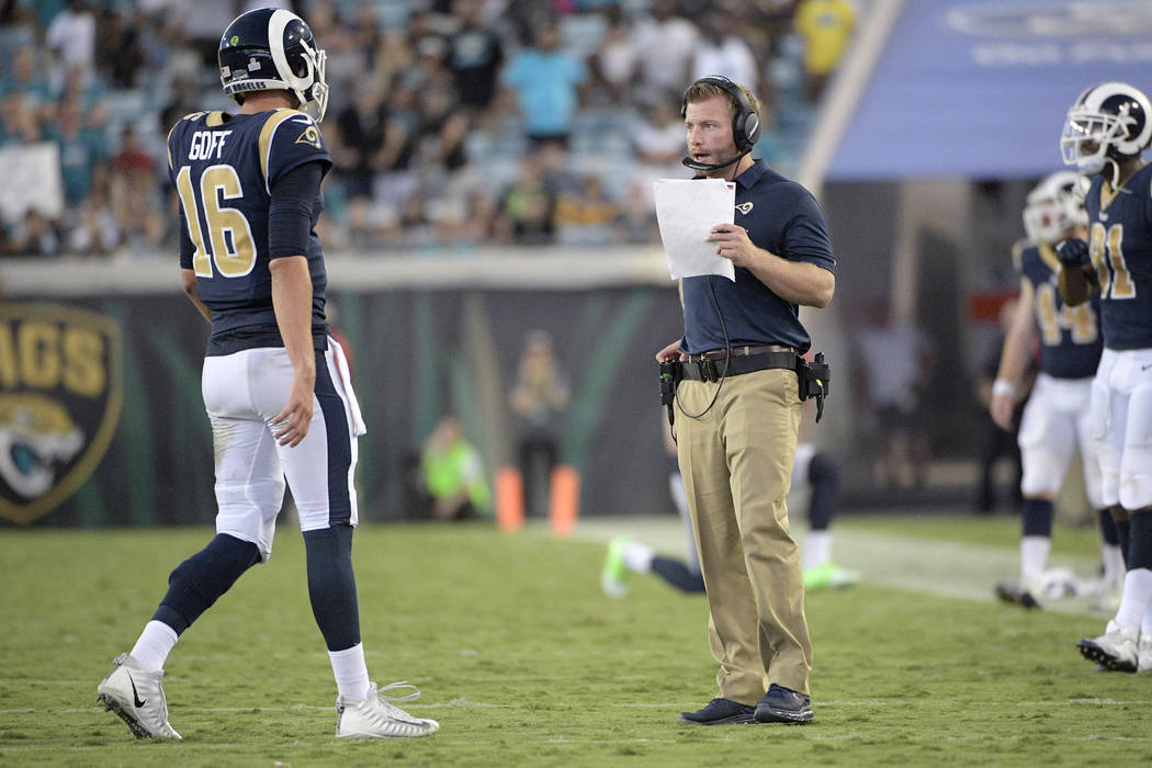 Los Angeles Rams head coach Sean McVay talks with quarterback Jared Goff (16) during the second half of an NFL football game against the Jacksonville Jaguars Sunday, Oct. 15, 2017, in Jacksonville ...