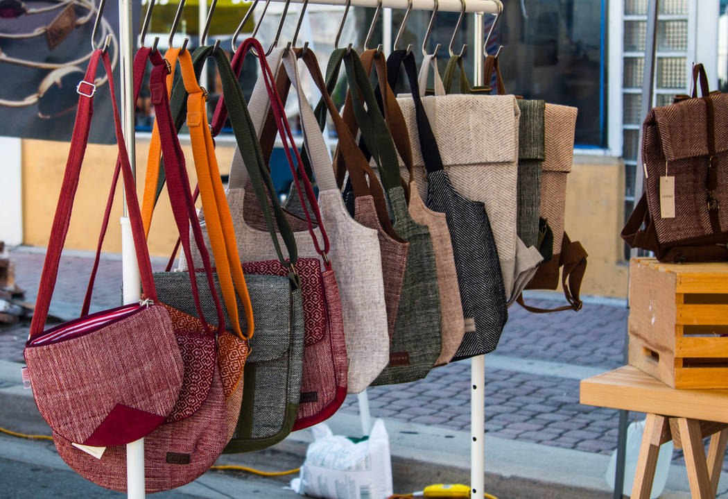 Bags and purses display at the art and craft market. Thinkstock