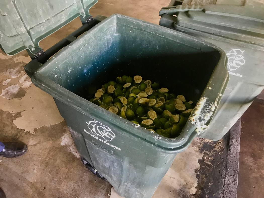 A bin full of lime peels sits on a dock at Caesars Palace, where it will be picked up by Republic Services. (Madelyn Reese/View) @MadelynGReese