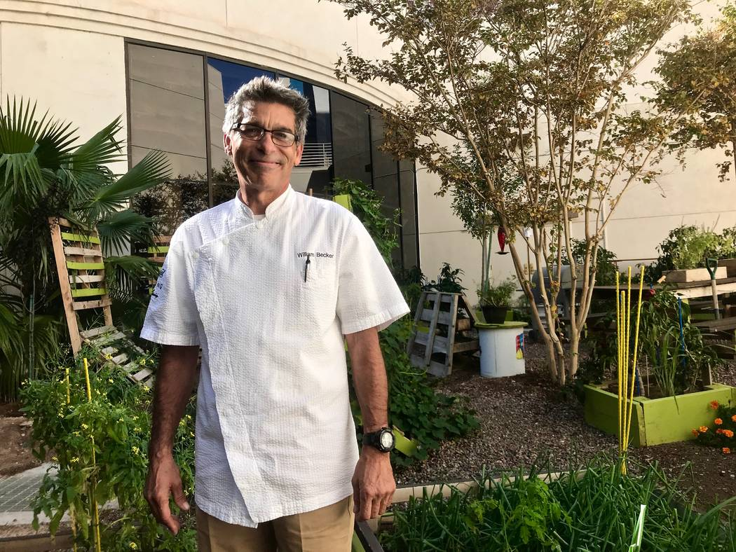 Caesars's director of culinary operations, William Becker is pictured in the employee garden outside the Paradise Garden Buffet at the Flamingo on Oct. 24.  (Madelyn Reese/View) @MadelynGReese