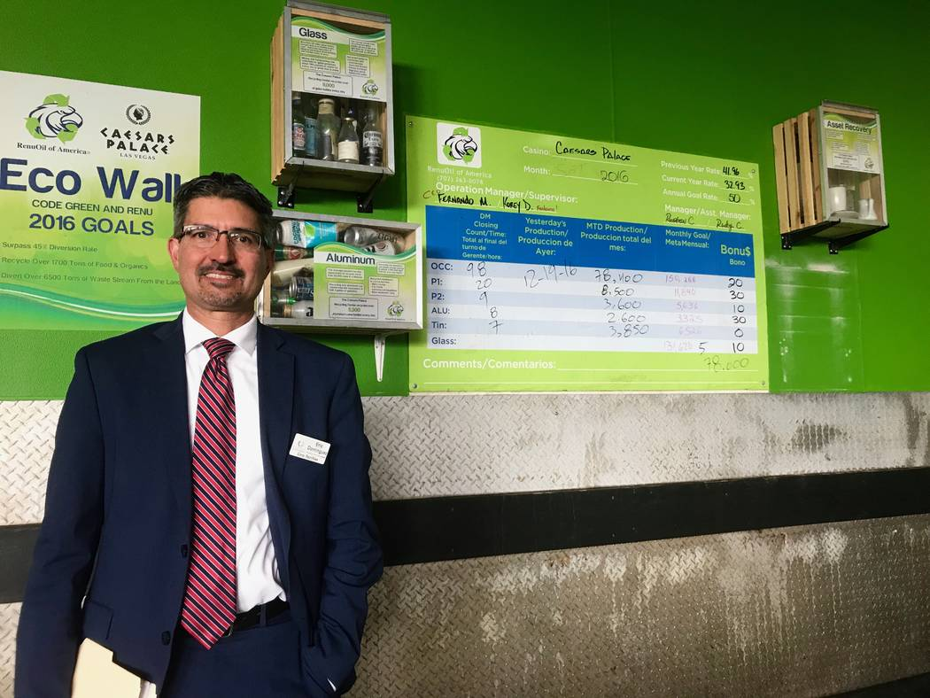 Eric Dominguez vice president of facilities, engineering and sustainability for Caesars Entertainment Corp., said the company has been tracking its waste diversion since 2008. He is pictured at th ...