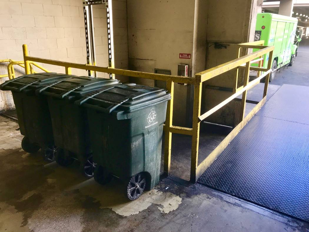 Bins of organic waste wait for pickup at the Caesars Palace waste loading dock on Oct. 24. (Madelyn Reese/View) @MadelynGReese