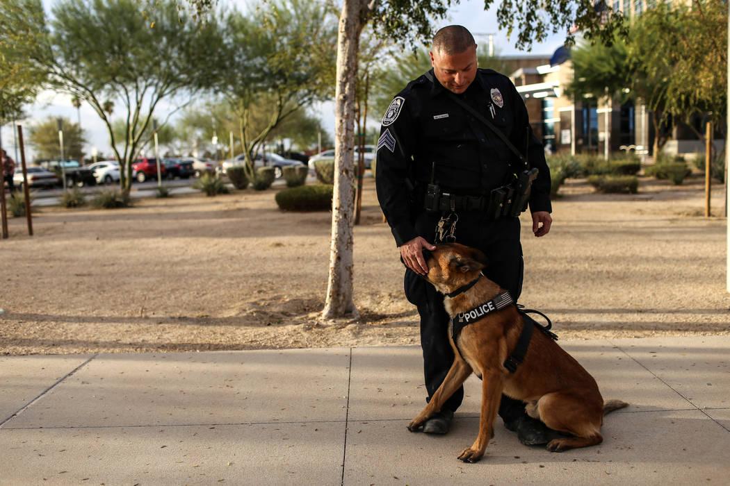 North Las Vegas Police Sgt. Scott Salkoff pets K-9 officer Storm outside city hall in North Las Vegas, Monday, Oct. 30, 2017. Joel Angel Juarez Las Vegas Review-Journal @jajuarezphoto