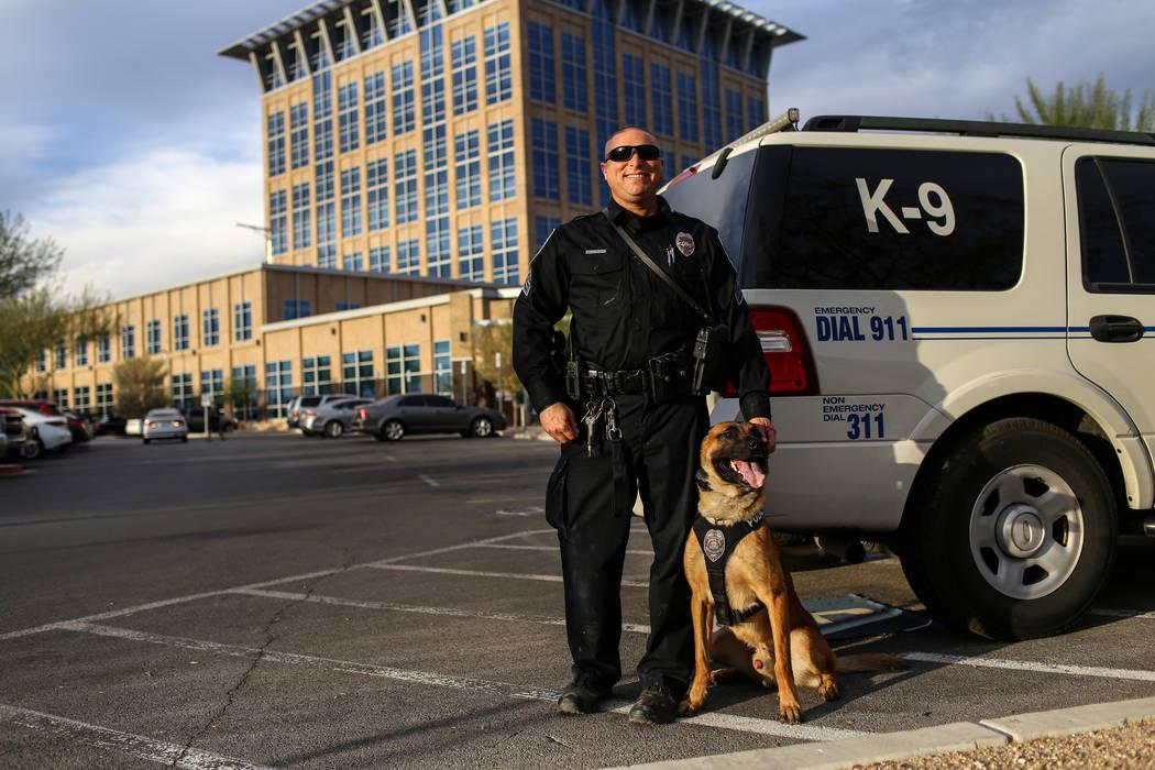 North Las Vegas Police Sgt. Scott Salkoff and K-9 officer Storm outside city hall in North Las Vegas, Monday, Oct. 30, 2017. Joel Angel Juarez Las Vegas Review-Journal @jajuarezphoto