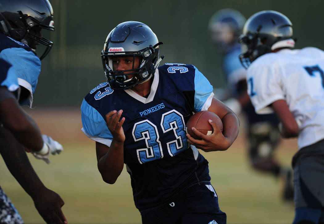 Canyon Springs running back Loren Culverson runs the ball during practice at Canyon Springs High School in North Las Vegas Wednesday Nov. 1, 2017. Josh Holmberg/Las Vegas Review-Journal