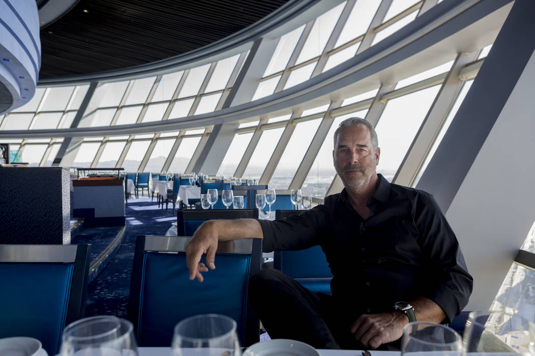 Golden Entertainment Chairman and CEO Blake Sartini discusses his recently acquired Stratosphere Tower, in the Top of the World restaurant in the tower in Las Vegas, Tuesday, Oct 31, 2017. Elizabe ...
