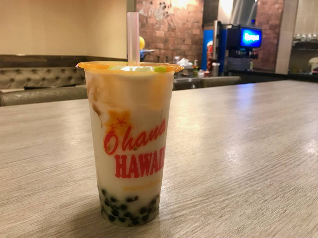 A large cherry blossom milk tea with boba ($5.00). (Madelyn Reese/View) @MadelynGReese