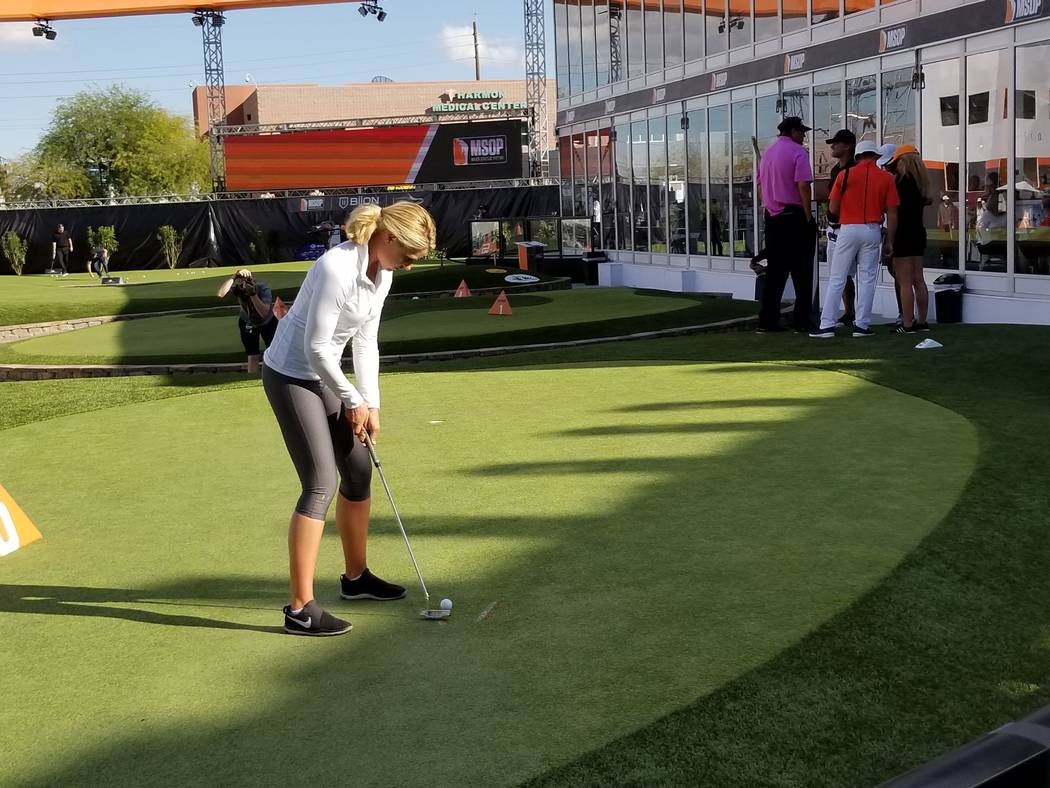 Katelyn Wright prepares to hit a putt on the 18th hole during the Major Series of Putting Team Championship on Thursday. (David Schoen/Las Vegas Review-Journal)