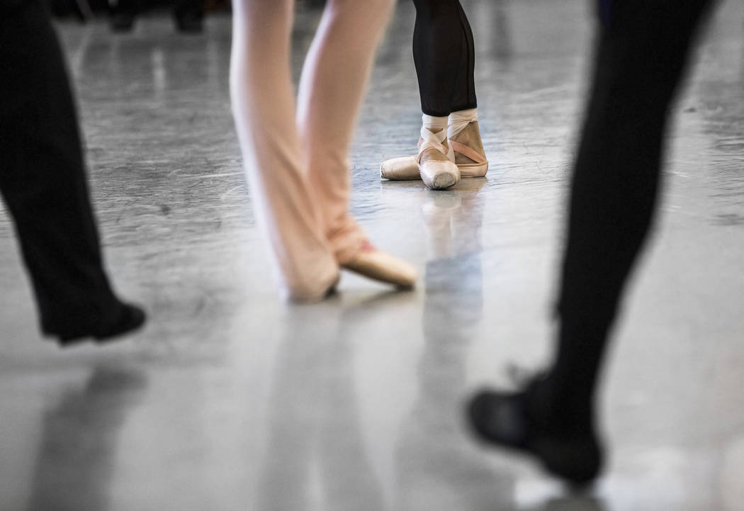 """Nevada Ballet Theatre dancers warm up before the start of rehearsal for """"Western Symphony"""" on Friday, Nov. 3, 2017, in Las Vegas. Benjamin Hager Las Vegas Review-Journal @benjami ..."""