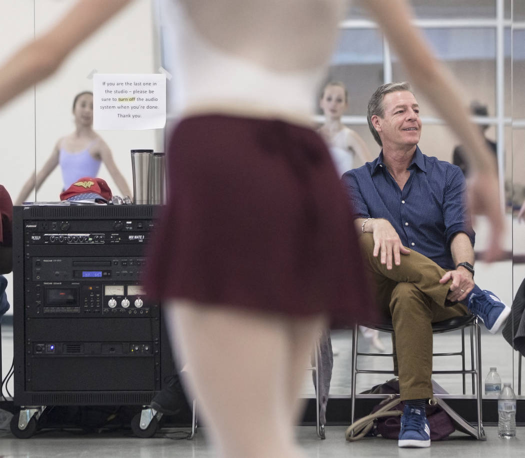 "Roy Kaiser, right, the new artistic director for the Nevada Ballet Theatre, directs the rehearsal of ""Western Symphony"" on Friday, Nov. 3, 2017, in Las Vegas. Benjamin Hager Las  ..."