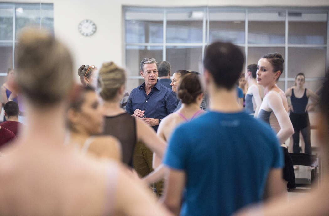 "Roy Kaiser, middle, the new artistic director for the Nevada Ballet Theatre, directs the rehearsal of ""Western Symphony"" on Friday, Nov. 3, 2017, in Las Vegas. Benjamin Hager Las ..."