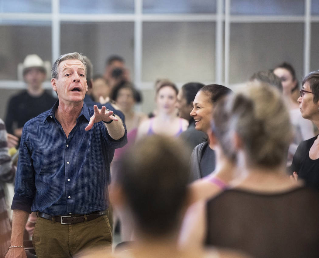 "Roy Kaiser, left, the new artistic director for the Nevada Ballet Theatre, directs the rehearsal of ""Western Symphony"" on Friday, Nov. 3, 2017, in Las Vegas. Benjamin Hager Las V ..."