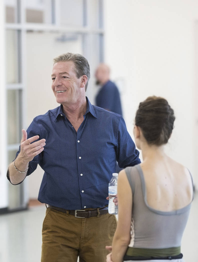 """Roy Kaiser, left, the new artistic director for the Nevada Ballet Theatre, directs the rehearsal of """"Western Symphony"""" on Friday, Nov. 3, 2017, in Las Vegas. Benjamin Hager Las V ..."""