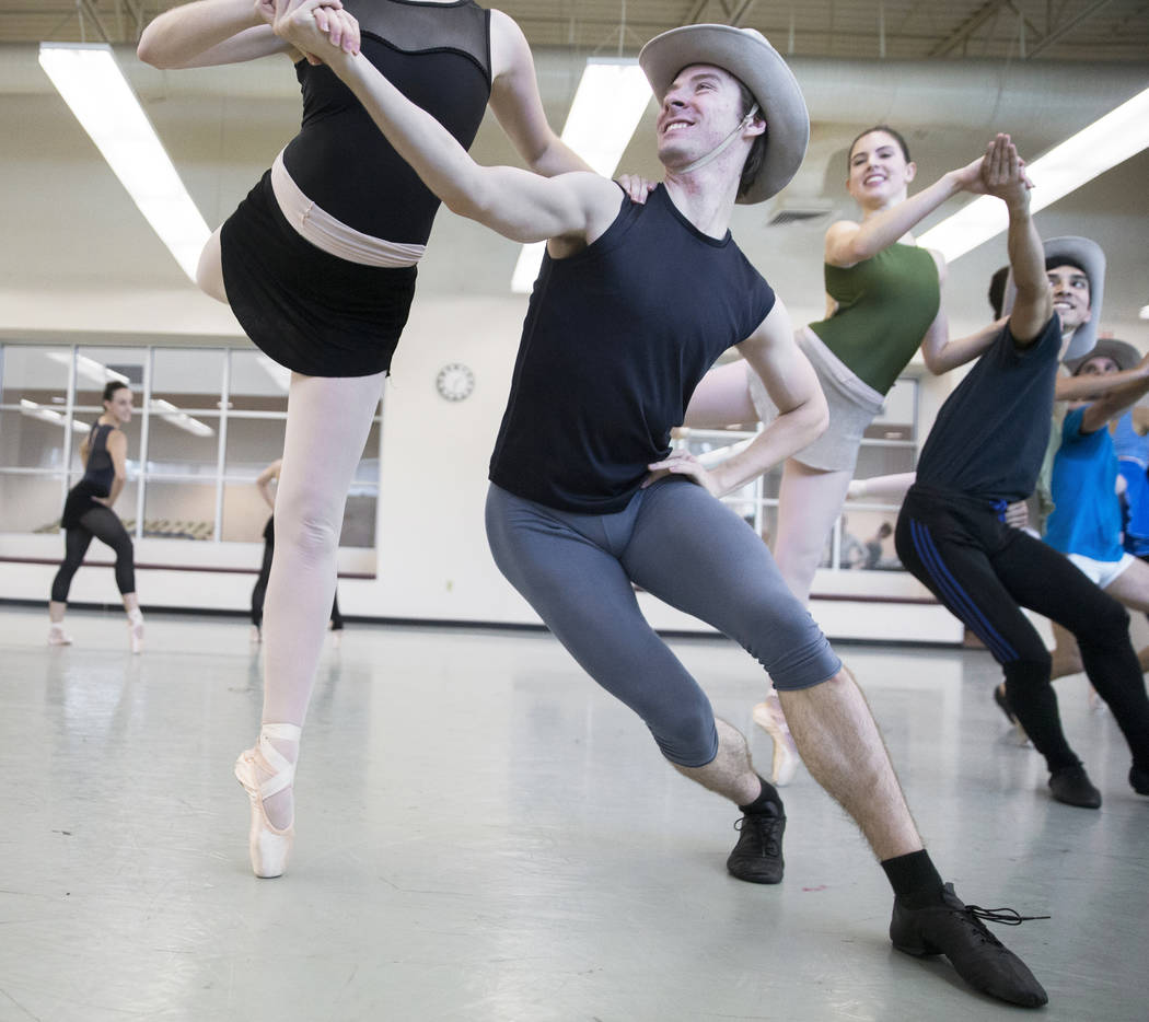 "Nevada Ballet Theatre's Enrico DeMarco, middle, rehearses ""Western Symphony"" on Friday, Nov. 3, 2017, in Las Vegas. Benjamin Hager Las Vegas Review-Journal @benjaminhphoto"