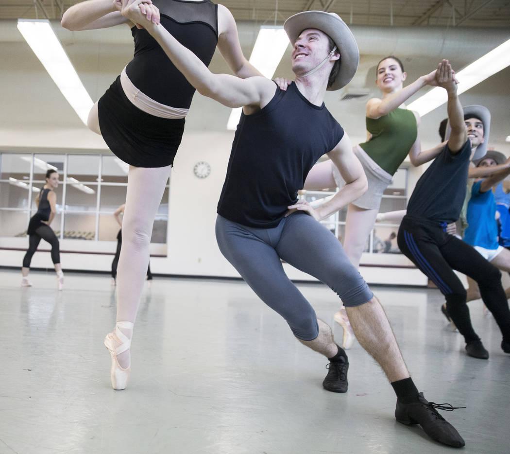 "Nevada Ballet Theatre's Enrico DeMarco, middle, rehearses ""Western Symphony"" on Friday, Nov. 3, 2017, in Las Vegas. Benjamin Hager Las Vegas Review-Journal @benjaminhphoto"