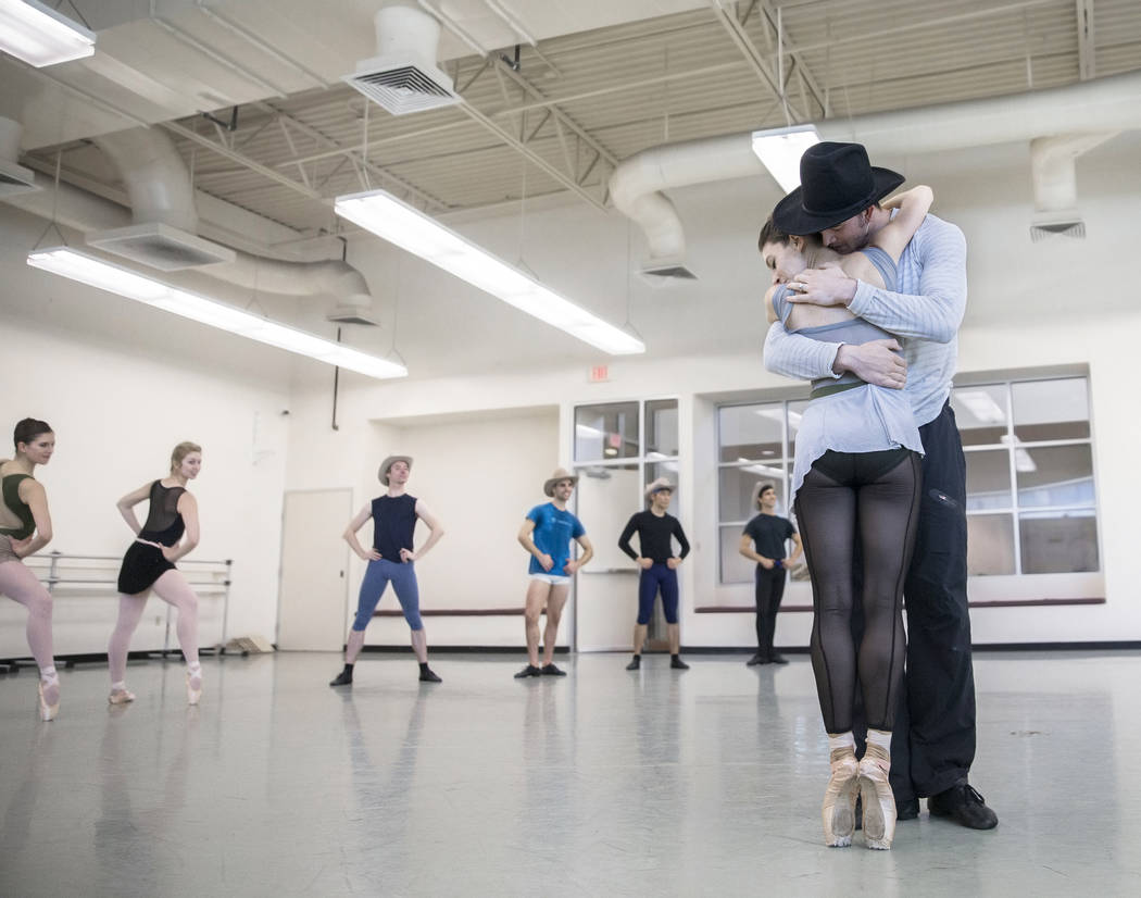 "Nevada Ballet Theatre's Betsy Lucas, right, hugs Steven Goforth during the rehearsal of ""Western Symphony"" on Friday, Nov. 3, 2017, in Las Vegas. Benjamin Hager Las Vegas Review- ..."