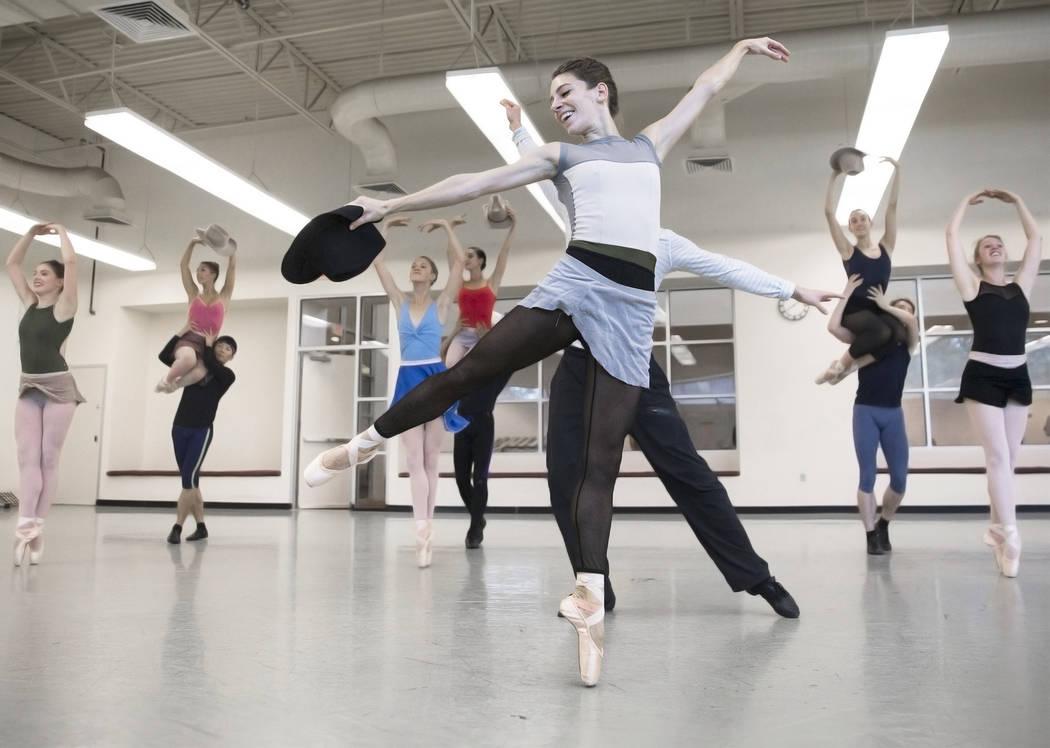 "Nevada Ballet Theatre's Betsy Lucas, middle, rehearses ""Western Symphony"" on Friday, Nov. 3, 2017, in Las Vegas. Benjamin Hager Las Vegas Review-Journal @benjaminhphoto"