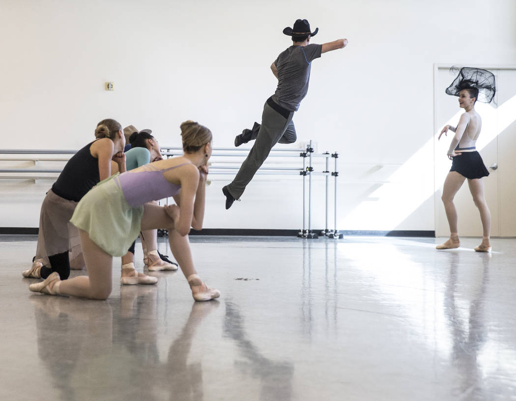 "Ruben Medina, middle, rehearses ""Western Symphony"" with fellow Nevada Ballet Theatre dancers on Friday, Nov. 3, 2017, in Las Vegas. Benjamin Hager Las Vegas Review-Journal @benjaminhphoto"