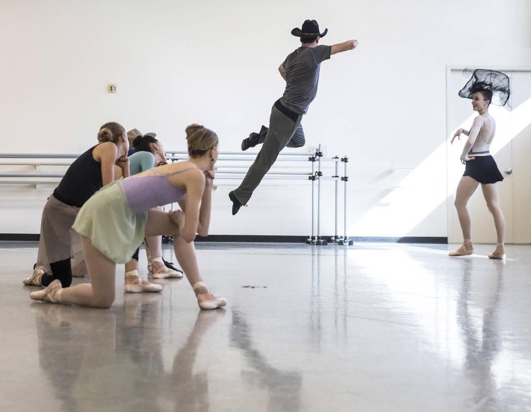 "Ruben Medina, middle, rehearses ""Western Symphony"" with fellow Nevada Ballet Theatre dancers on Friday, Nov. 3, 2017, in Las Vegas. Benjamin Hager Las Vegas Review-Journal @benjaminhphoto"