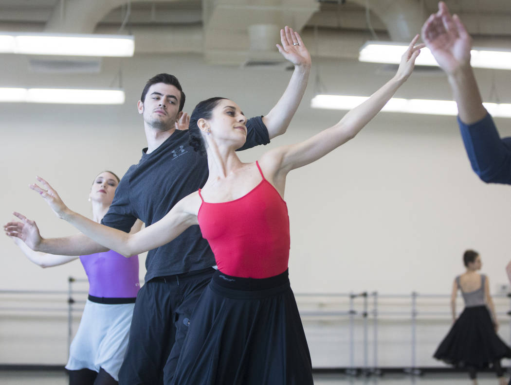 "Mirella Costa Neto, middle, rehearses ""Company B"" with fellow Nevada Ballet Theatre dancers on Friday, Nov. 3, 2017, in Las Vegas. Benjamin Hager Las Vegas Review-Journal @benjam ..."